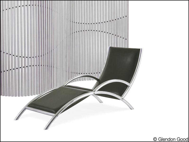 black leather contemporary lounge chair