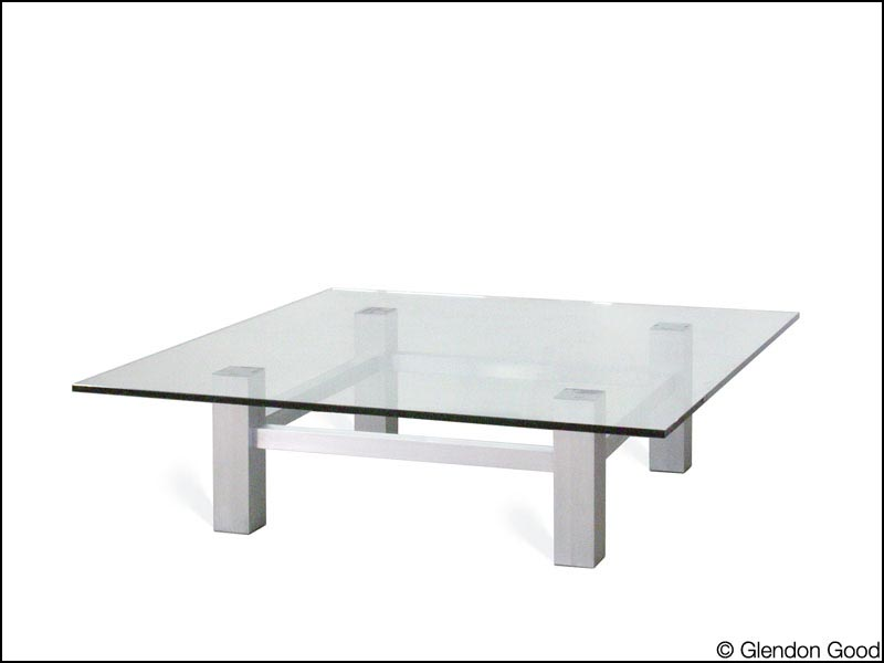 Glass Table With Aluminum Base