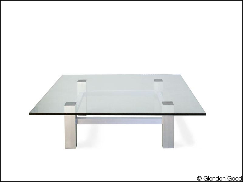 Great Glass Table With Aluminum Base