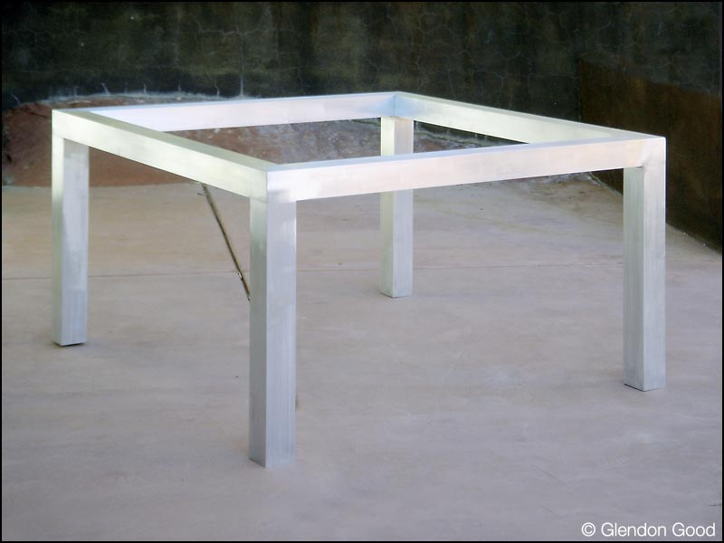 Glass Table With Aluminum Base Glendon Good - Brushed aluminum table base