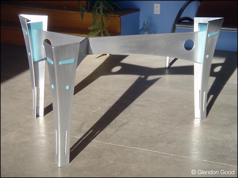 Aluminum Table Base Glendon Good - Brushed aluminum table base