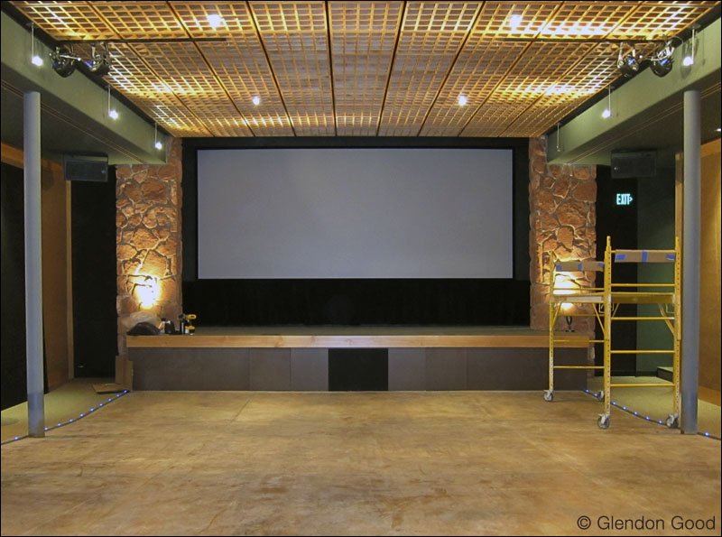 Articulating cinema baffle wall system glendon good - Home theater screen wall design ...